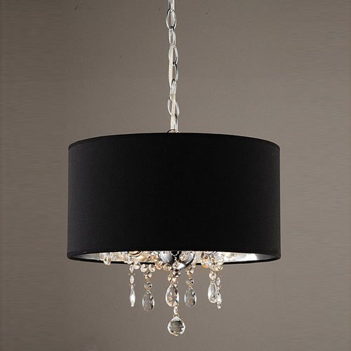 Fluorescent Drum Light Fixture - LightInTheBox 60W Modern Crystal Beaded Pendant Light with 3 Lights and Black Drum Shade Ceiling Light Fixture Chandeliers 110-120V
