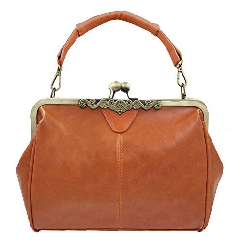 Donalworld Women Retro Hollow out PU Leather Handbag L Brown