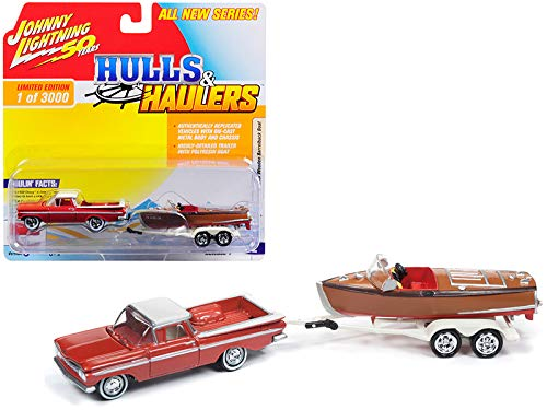 1959 Chevrolet El Camino Cameo Coral and White Top with Vintage Wooden Barrelback Boat Limited Edition to 3,000 Pieces Worldwide Hulls & Haulers Series 1 1/64 Diecast Model Car ()