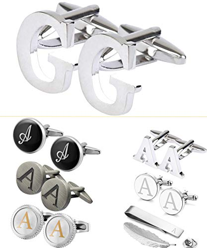 - GGemony Men's Shirt Cufflinks 2PCS,Premium Quality Personalized Alphabet Letter A-Z (G-Metal)