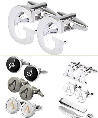 (GGemony Men's Shirt Cufflinks 2PCS,Premium Quality Personalized Alphabet Letter A-Z (G-Metal))