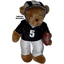 "Football Silver & Black Fits Most 14"" - 18"" Build-a-bear, Vermont Teddy Bears, and Make Your Own Stuffed Animals"