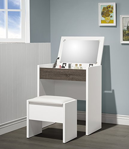 3-Piece Metal Make-Up Heart Mirror Vanity Dresser Table and Beige Stool Set, White and Grey
