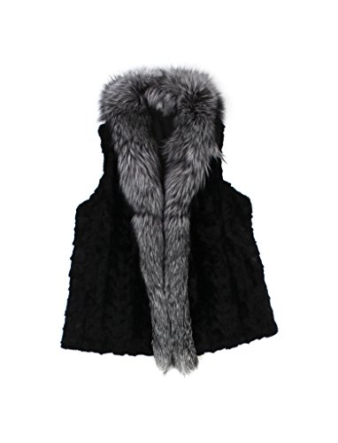 - 610116 New Black Plus Size Mink Sections Fox Fur Vest Jacket Coat Stroller 18