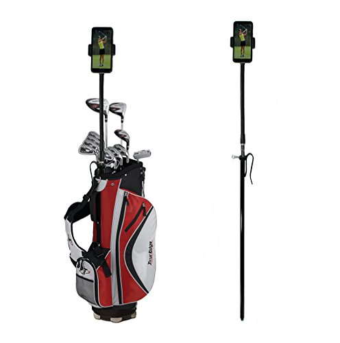 Golf Gadgets | Golf Bag Flexible Pole - Video Recording & Device Mounting System Using Your Phone or Tablet. Capture Footage on The Course or Range. (Black Bag Pole)