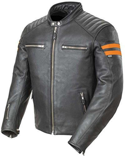 Joe Rocket Classic 92' Leather Jacket Black Orange Scrambler XX-Large