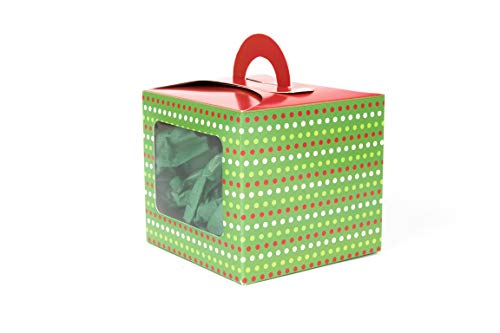 Single Cupcake Box with Side Window, 4 INCH Set of 12, RED and Green with Colorful Polka DOTS for Gift Giving ON Christmas and Holiday Party Favors