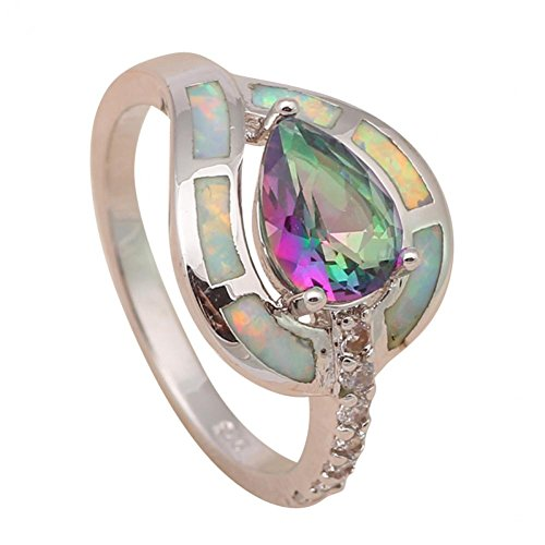 NEROY Designer 925 Silver Mystic Rainbow Topaz Ring with Green Fire Created Opal Usa Size 6 6.5 7.5 8.5 - Mystic Platinum Topaz