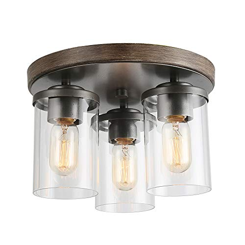 LALUZ 3 Lights Vintage Flush Mount Ceiling Light in Faux Wood and Rusty Metal Finish with Cylindrical Clear Glass Shades, 11.8