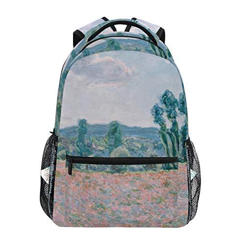 WIHVE School Backpack Claude Monet - Poppy Field College Book Bag Travel Rucksack Claude Monet Glass Print