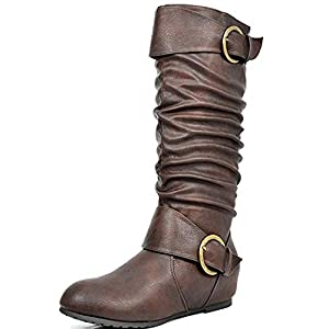 DREAM PAIRS Women's Knee High Low Hidden Wedge Boots