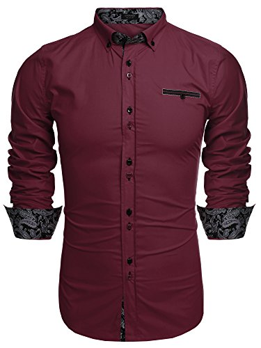 COOFANDY Men's Fashion Slim Fit Dress Shirt Casual Shirt, 01-wine Red, X-Large