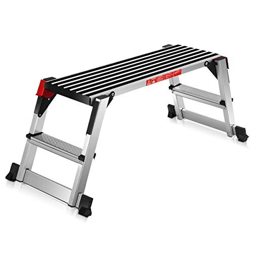 Giantex Aluminum Platform Non-Slip Folding Work Bench Drywall Stool Ladder 330lbs Capacity ()
