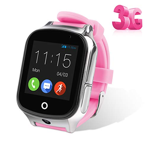 Autopmall GPS Watch Kids GPS Tracker Watch Waterproof IP65 SOS Call Function GPS WiFi LBS Real Time Tracking Health Steps Activity Tracking Boys Girls Gift(Pink)