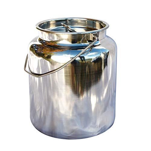 15 Qt Milk Can Tote, Stainless Steel with Lid and Handle 4 Gallon