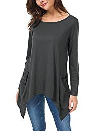 Urban CoCo Women's Irregular Hem Long Sleeve Tunic Top with Pockets