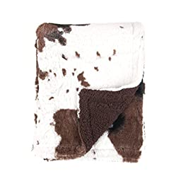 Tadpoles Cowhide Print Double Layer Baby Blanket, Brown/White