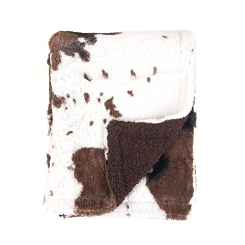 Tadpoles Cowhide Print Double Layer Baby Blanket, Brown/White (Baby Cowhide Crib Set)