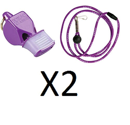 Tide Rider Fox 40 Classic CMG Whistle w/ Lanyard Referee Coach, Purple (2-Pack) by Fox 40