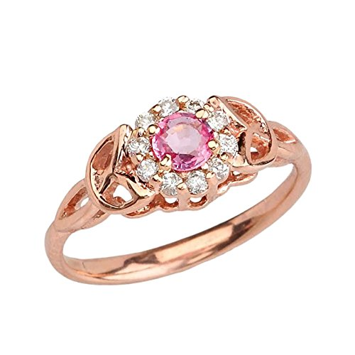 (Precious 10k Rose Gold Diamond Pink Sapphire Engagement/Promise Ring (Size 6))