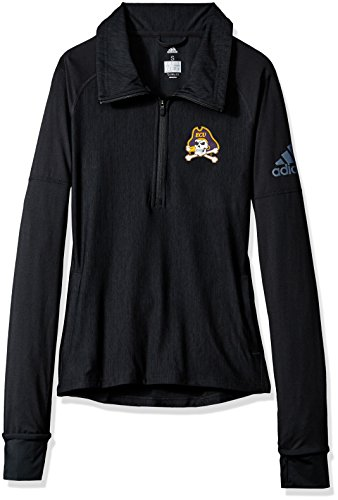 adidas NCAA East Carolina Pirates Adult Women Team Logo Vertical Heather 1/4 Zip Pullover, X-Large, Black