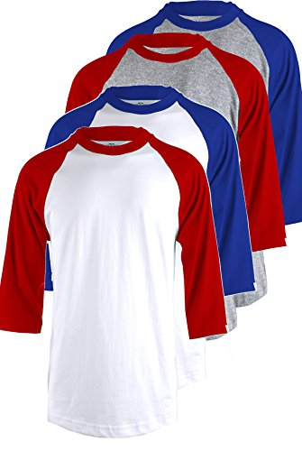 TL Men's 4 Pack 3/4 Sleeve Baseball Cotton Crew Neck Raglan Tee Shirts S To 3XL - XLarge