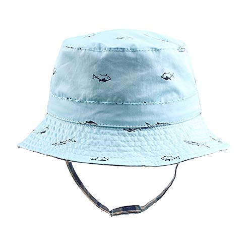 Baby Sun Hat Boys Bucket Hat Toddler Floppy Hat UPF 50+ Wide Brim Chin Strap Summer Play Hat (Light Blue, L(2-4T)) ()