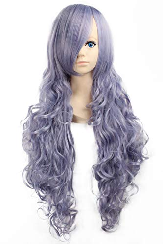(Miss Elegant 32''Long Wavy Cosplay Wig with Inclined Bangs Left Side Parting Lolita Anime Costume Cosplay Wigs None Lace Girls Daily Party Weeding Halloween Women Girls Heat Resistant (Light)