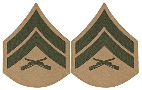 Green on Khaki USMC Chevrons - Corporal - ()
