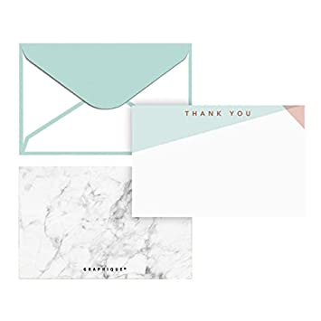 Graphique Classic Dot Flat Note Cards PrintedThank You Message Includes 50 Note Cards and Matching Envelopes Black and Gold Note Card Stationery Pink