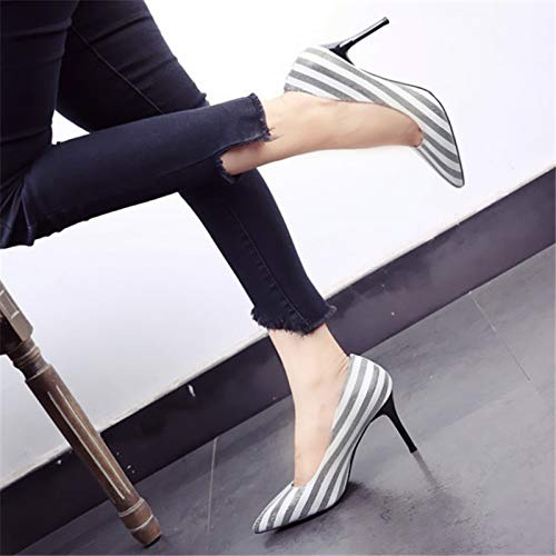 B single European shoes style shoes heels party stiletto shoes shoes pointed fashion color work stripe matching YMFIE mouth shallow wedding HPxqwdPn