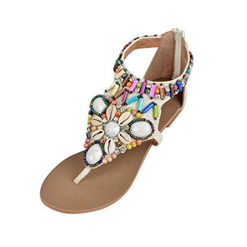 Chaussures Sandales Beige Femme Flip Bohême Tongs strap Été T De pieds Nu Niseng Vintage Strass Peep Plat Toe Plage Flops UMVzpS