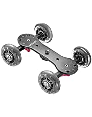 Neewer Scaled Camera Table Dolly Slider with 22 pounds/10 kilograms Load Capacity Skater Design Aluminum Rods Rotatable Rubber Wheels 1/4-inch 3/8-inch Screw Threads for DSLRs Video Camcorders (Black)