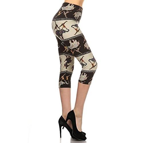 9cbda8b1d5ecb5 Leggings Depot Women's Popular Capri Cropped Regular and Plus Printed High  Waist Leggings Batch5