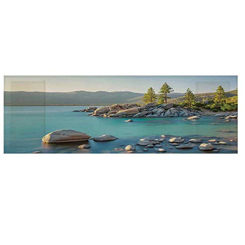 Lake Microwave Oven Cover,Pastoral Spring Time Scenery in Provincial Countryside Lake Beach Shallow Water Theme Cover for Kitchen,36