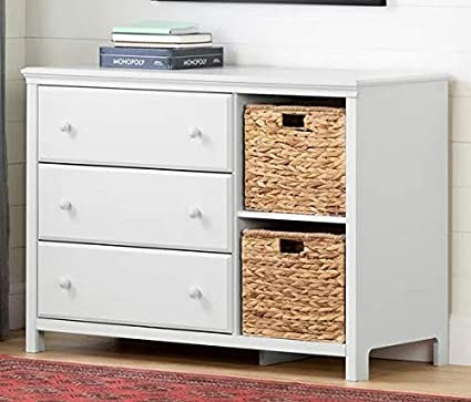 Amazon.com: Chester Drawers - White Wood Three Drawer Combo ...