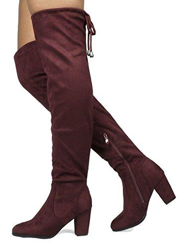 Droomparen Dames Dijhoge Mode Over De Knie Dij Hoge Blokhak Laarzen Bordeaux Rood