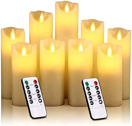 Flameless Battery Operated Led Candles Set of 9 Ivory Dripless Real Wax Pillars Include Realistic Dancing LED Flames Battery Candles and 10-Key Remote Control with 24-Hour Timer