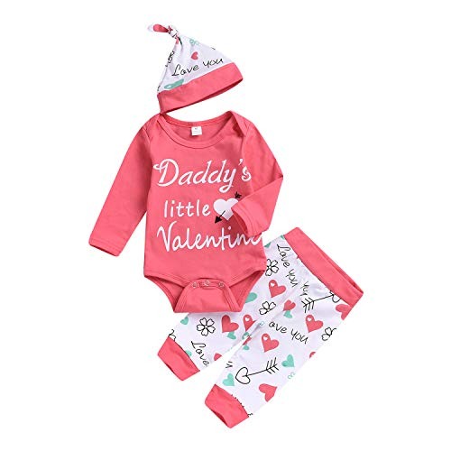 Zukuco My First Valentines Day Outfit Baby Girl Boy Long Sleeve Heart Romper + Love Print Pants + Hat(12-18 Months, Pink)
