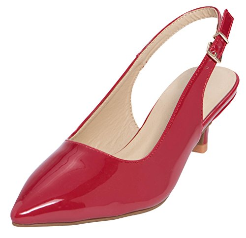 Cambridge Select Women's Closed Pointed Toe Buckled Slingback Kitten Heel Pump,5.5 B(M) US,Red Patent (Buckled Patent Pumps)