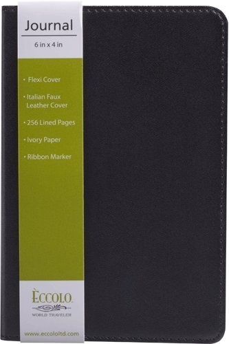 Eccolo World Traveler Simply Black Lined Journal, 8 x 10-Inch ()