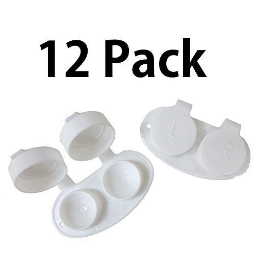 Contact Lenses White (Premium FDA Approved Contact Lens Cases 12 Pack White, Deep Well Reinforced Storage)