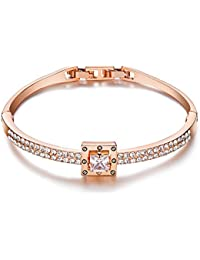 Princess Crystal Bracelet Rose Gold Luxury Jewelry...