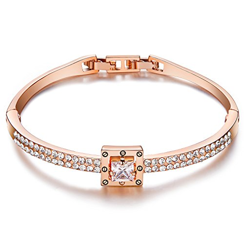 Price comparison product image Menton Ezil Princess Crystal Bracelet Rose Gold Luxury Jewelry Adjustable Bangle Bracelets for Womens Girls Wife Anniversary Fashion Collections Loves Design
