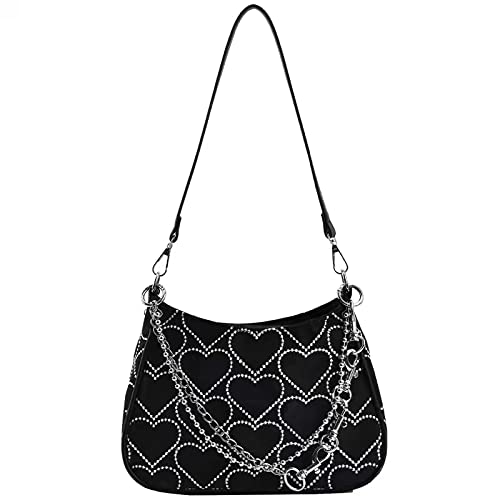 FONETTOS Punk Bag, Sourpuss Gothic Tote Purse Y2K Cool Style Trendy Women Shoulder Bags Rock Fashion Girls Handbag