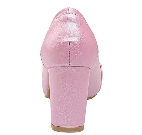 Rose Bout Pu Chaussures À Hauts Talons Carré Femmes Pompes Les À Fermé Voguezone009 Solide Enfiler Iqw6HH