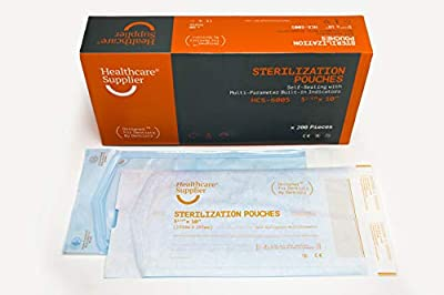 """HEALTHCARE SUPPLIER 5.25"""" x 10"""" Dental Sterilization Pouches with Indicators (200 Count) Professional Dental Supplies"""