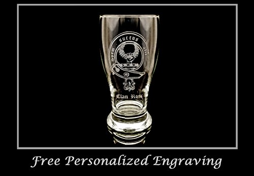 - Clan Ross Scottish Crest Pint Glass- Free Personalized Engraving, Family Crest, Pub Glass, Beer Glass, Custom Beer Glass