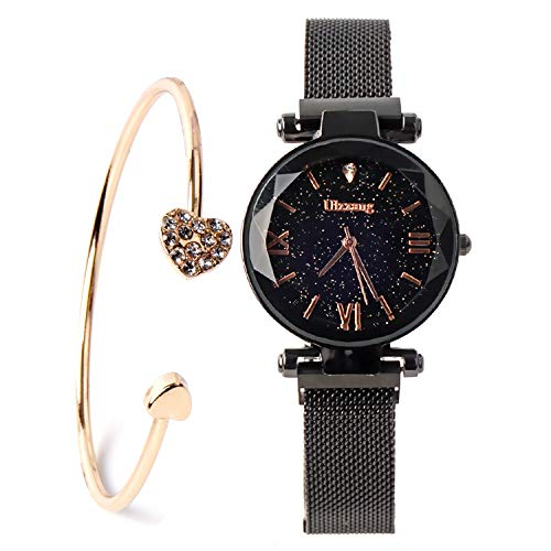 Fashion Black Ladies Watch Magnetic Mesh Band Starry Sky Dial Analogue Quartz Wrist Watch for-Valentine's Day Gifts