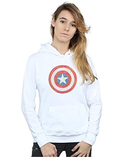 Femme Sketched À Blanc America Sweat Capuche Marvel Shield Captain RqwtFRdY